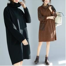 (F7736) 針織連身裙 (大碼款)