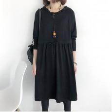 (NA2004) 簡約針織連帽連身裙