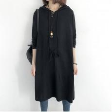 (NA1999) 簡約針織連帽連身裙