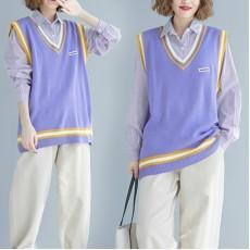 (F7430) 背心恤衫兩件套 (大碼款)