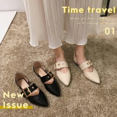 (SH016) 尖頭低跟皮帶扣平底鞋