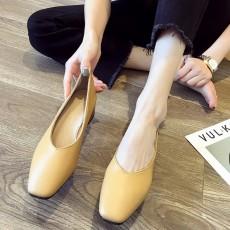 (SH010) 方頭粗跟高跟鞋