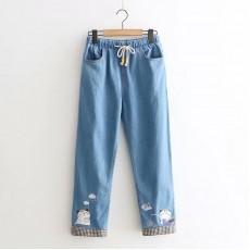 (L有現貨)日系(WA8771)  貓  牛仔褲