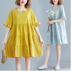 (現貨黃色)(F5699) 連身裙 (大碼款)