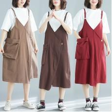 (現貨深啡XXL碼)(F5253) 吊帶連身裙 (大碼款)