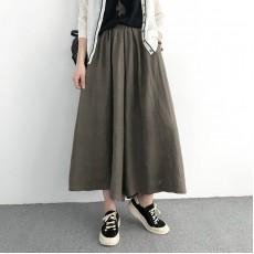 (NA1382) 簡約麻棉闊腿褲