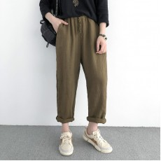 (NA1391) 簡約麻棉長褲