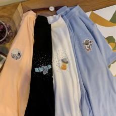 (A1939) 刺繡圖案短袖TEE上衣