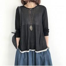 (NA1368) 簡約針織假兩件上衣