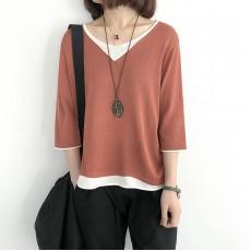 (NA1380) 簡約針織假兩件上衣