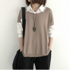 (NA1346) 簡約針織假兩件上衣