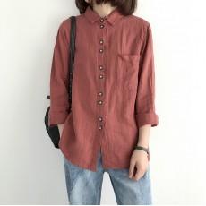 (NA1350) 簡約麻棉恤衫