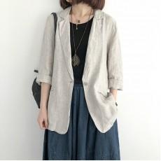 (NA1351) 簡約麻棉薄款西裝外套