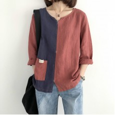(NA1353) 簡約麻棉上衣