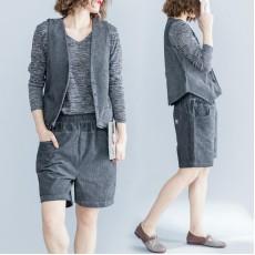 (F4891) 背心外套短褲兩件套 (大碼款)