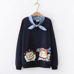 日系(WA7988) 貓 假兩件上衣