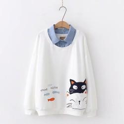 日系(WA8008)   貓  假兩件上衣