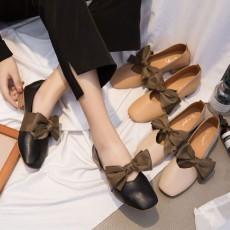 (SH006) 方頭蝴蝶結彷皮中踉鞋