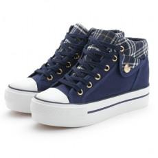 (SH004) 格仔拼色厚底帆布鞋