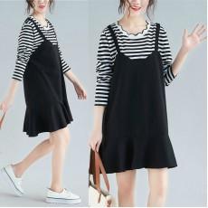 (F4566) 假兩件連身裙 (大碼款)
