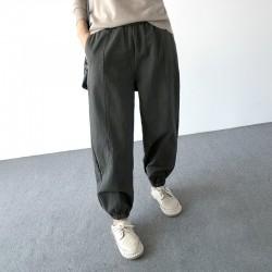 (A1257) 簡約棉質長褲