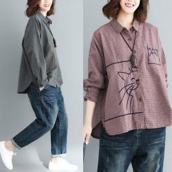 (F4038)  貓  恤衫 (大碼款)