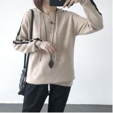 (A1216) 簡約針織連帽上衣
