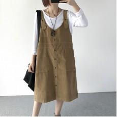 (現貨磚紅)(A1156) 簡約燈芯絨連身裙