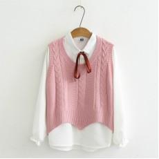 日系(WA6596) 針織背心外套恤衫兩件套