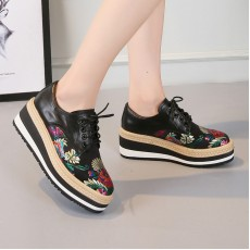 (F3020) 繡花厚底鞋