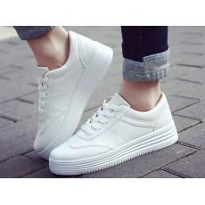 春夏必備PU白色厚底鞋