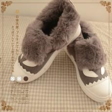 日本森系(編號: NA5455) 日系卡通眼睛磨砂拼接加絨保暖毛毛鞋  $189 包本地平郵