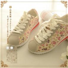 日本森系(編號:NA4782) 日系精美小花繫帶防滑帆布跑步鞋  $179 包本地平郵