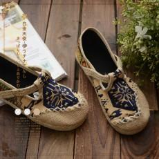 日本森系(編號:NA4675) 日系民族風花紋麻繩圓頭單鞋復古布鞋 $199 包本地平郵