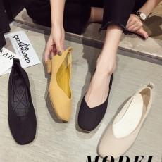 (SH011) 方頭粗跟鞋