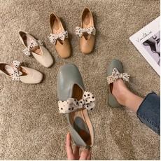 (SH012) 軟皮蝴蝶結粗跟平底鞋