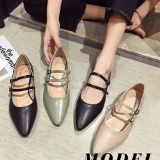 (SH015) 尖頭低跟平底鞋